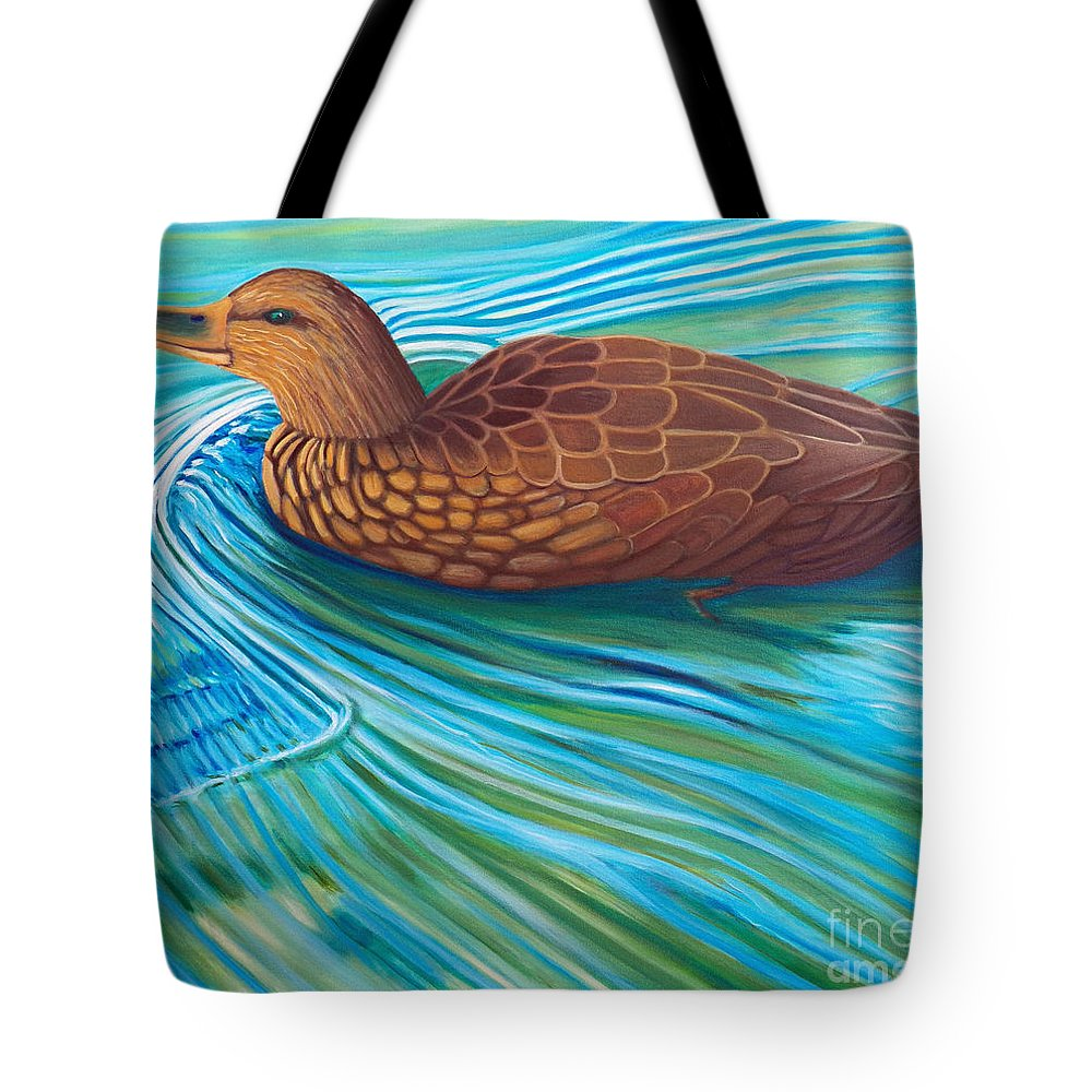 Duck Tote Bag featuring the painting South Shore by Brian Commerford