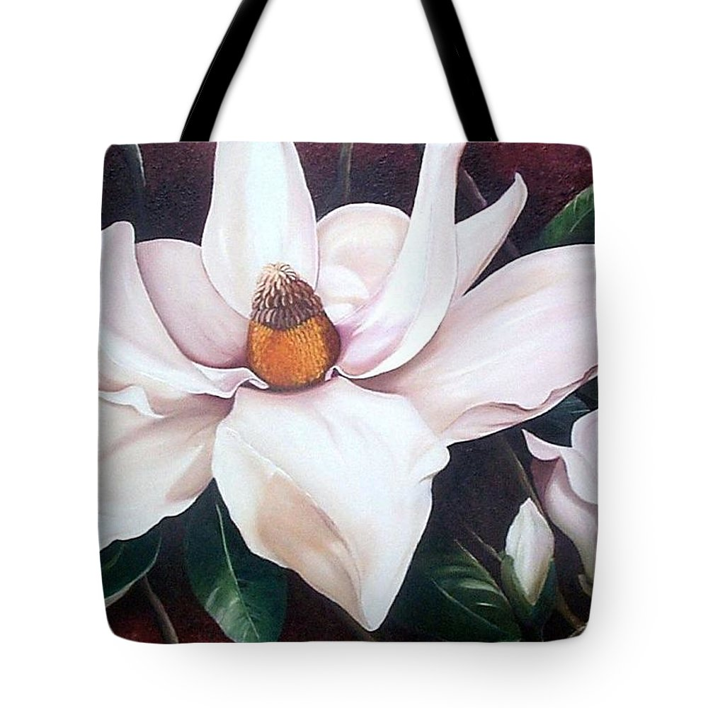 Magnolia Southern Bloom Floral Botanical White Tote Bag featuring the painting Southern Beauty by Karin Dawn Kelshall- Best