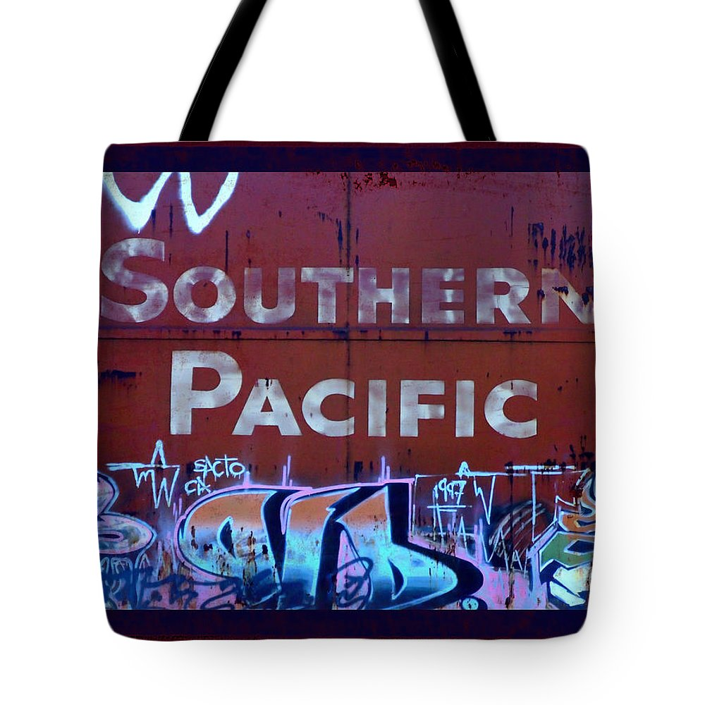 Tag Art Tote Bag featuring the photograph Southern Pacific by Donna Blackhall