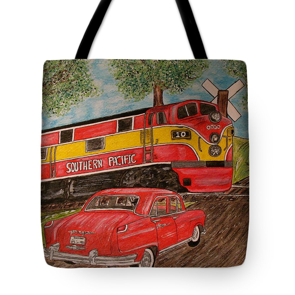 Southern Pacific Railroad Tote Bag featuring the painting Southern Pacific Train 1951 Kaiser Frazer Car Rr Crossing by Kathy Marrs Chandler