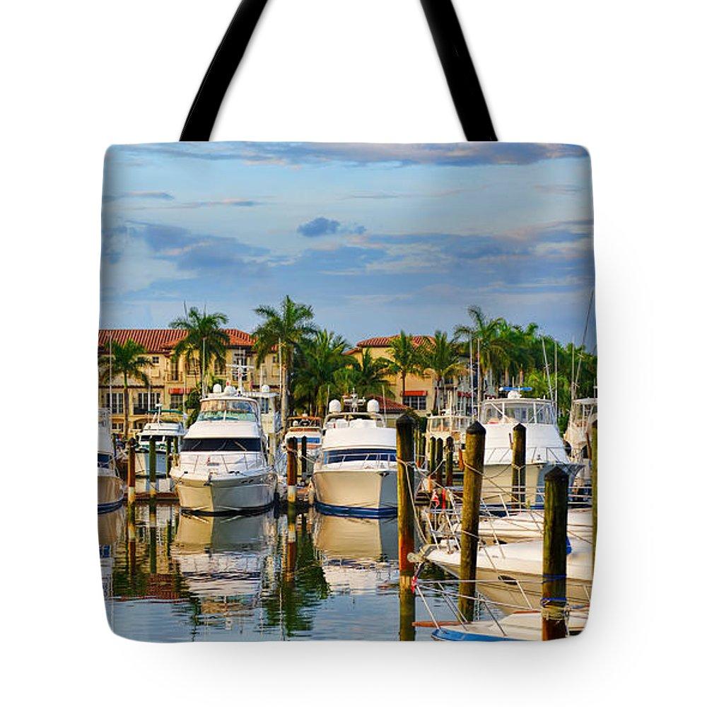 Marina Tote Bag featuring the photograph Soverel Harbour Marina by Olga Hamilton