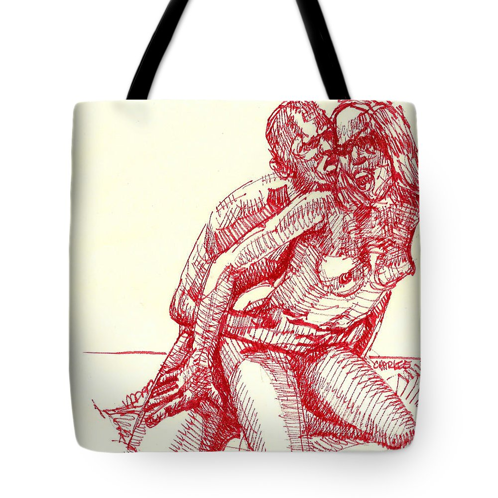 Sex Tote Bag featuring the drawing Sp4_043 by Cm W