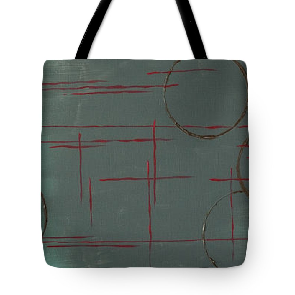 Space Tote Bag featuring the painting Space Configuration by Paulette B Wright