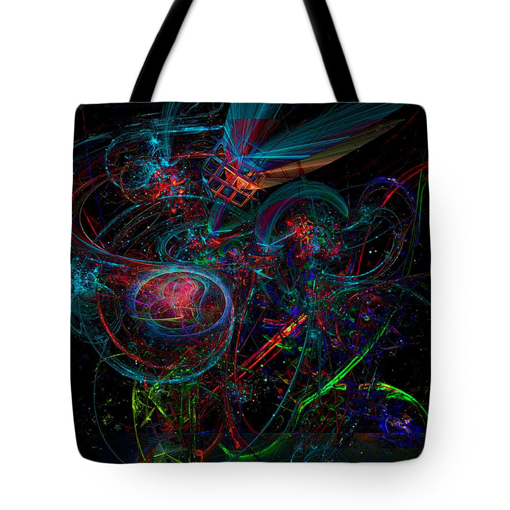 Bright Tote Bag featuring the digital art Space Junk Mental Energy From Earth by ReeNee Cummins