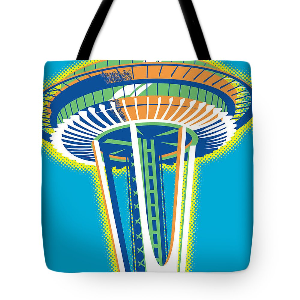 Vintage Tote Bag featuring the digital art Space Needle Pop Art by Jim Zahniser