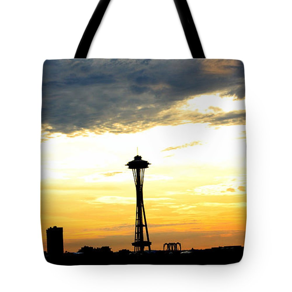 Space Needle Tote Bag featuring the photograph Space Needle Sunset Sillouette by Nick Gustafson