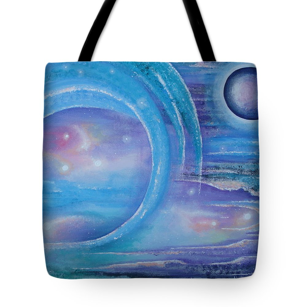 Planets Tote Bag featuring the painting Space Paradise by Krystyna Spink