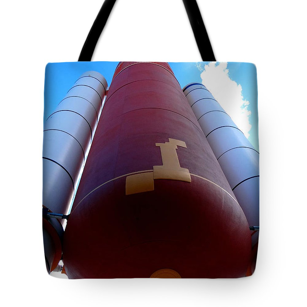 Nasa Tote Bag featuring the photograph Space Shuttle Fuel Tank And Boosters by Katy Hawk