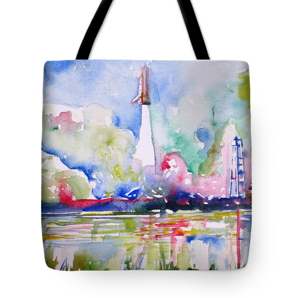 Space Tote Bag featuring the painting Space Shuttle Taking Off by Fabrizio Cassetta
