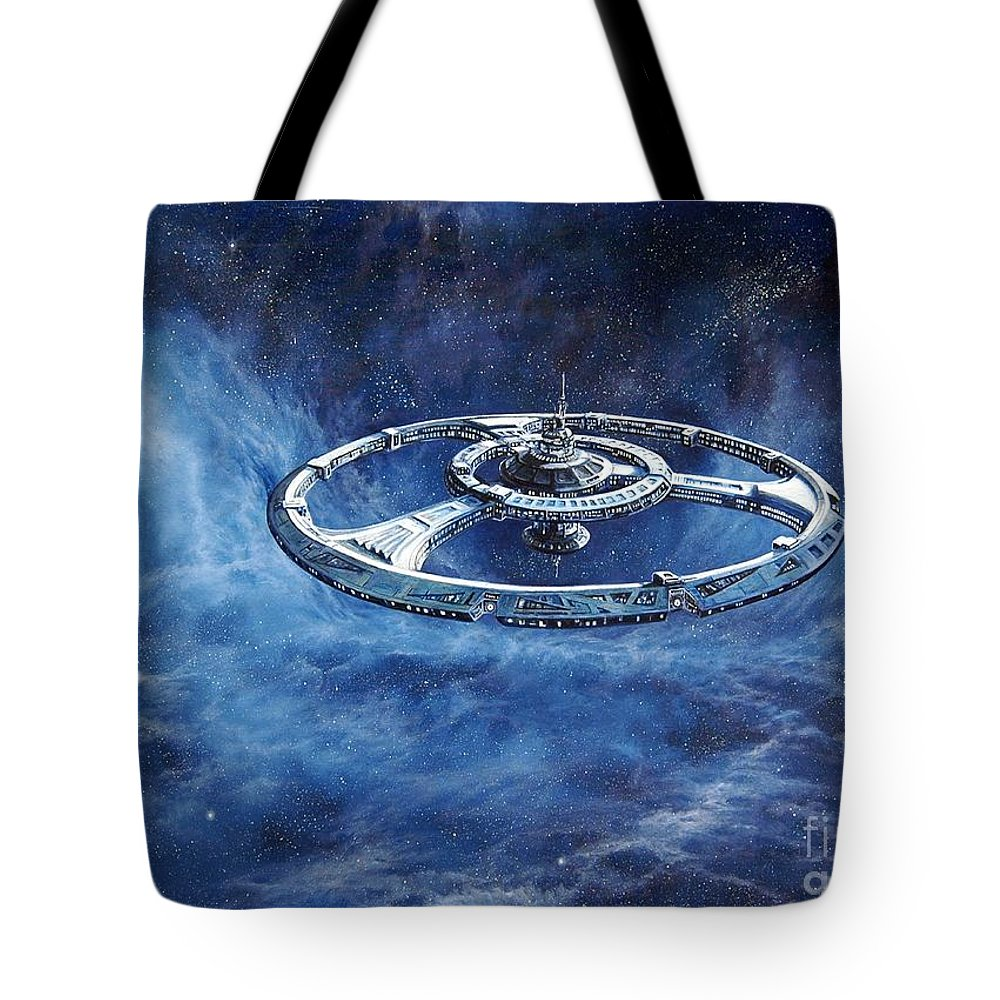 Sci-fi Tote Bag featuring the painting Deep Space Eight Station Of The Future by Murphy Elliott