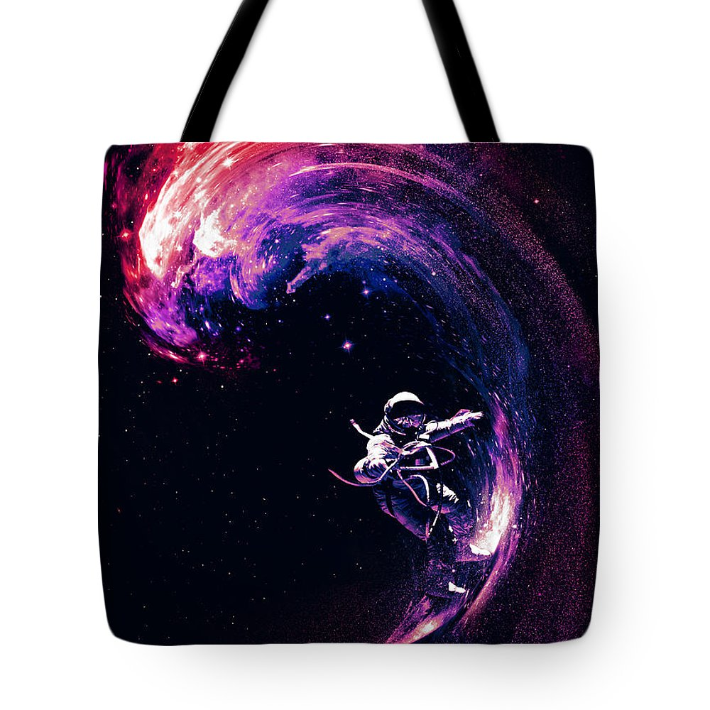 Space Tote Bag featuring the digital art Space Surfing by Nicebleed