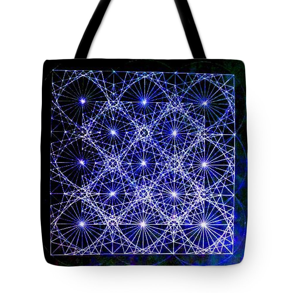 Space Tote Bag featuring the drawing Space Time At Planck Length Vibrating At Speed Of Light Due To Heisenberg Uncertainty Principle by Jason Padgett