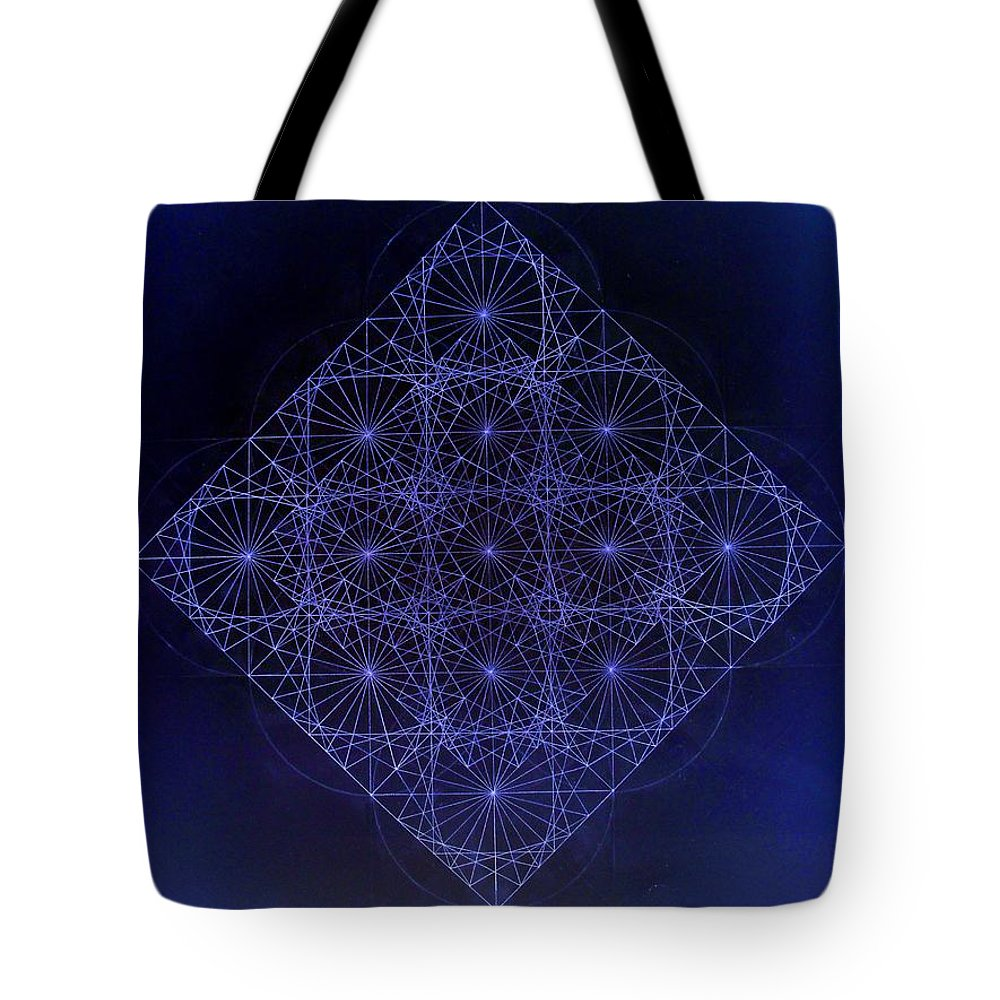 Fractal Tote Bag featuring the drawing Space Time Sine Cosine And Tangent Waves by Jason Padgett