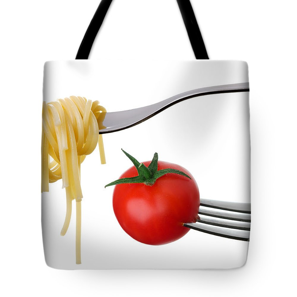 Pasta Tote Bag featuring the photograph Spaghetti And Tomato On Forks Isolated by Lee Avison
