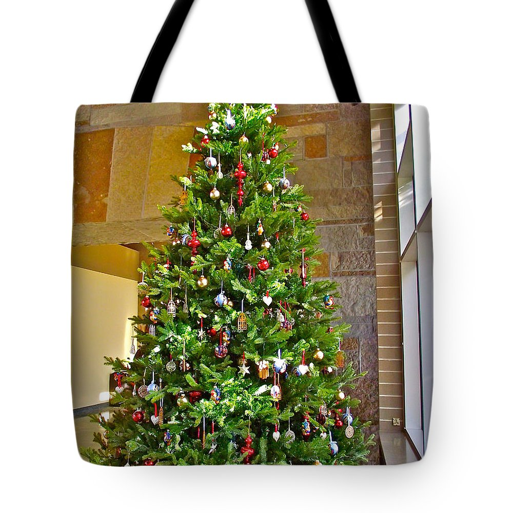 spanish christmas tree decorations in fredrik meijer gardens and sculpture park in grand rapids tote bag