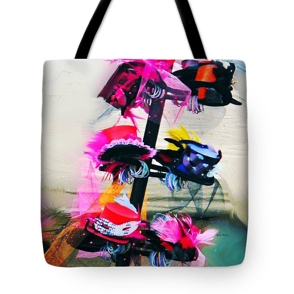 Parade Tote Bag featuring the digital art Spanish Town Parade Hats by Lizi Beard-Ward
