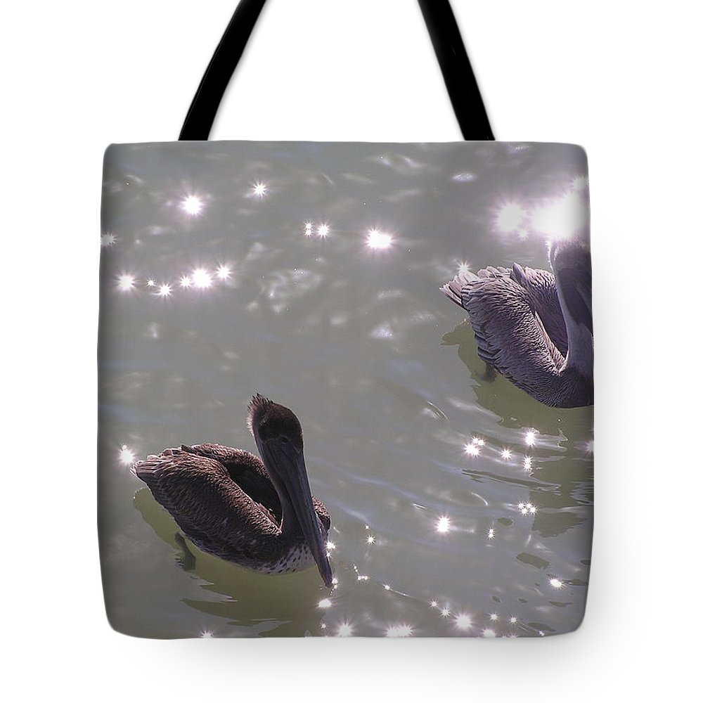 Pelicans Tote Bag featuring the photograph Sparkles by Jewels Hamrick