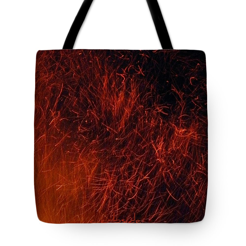 Fire Tote Bag featuring the photograph Sparks by Chris Berry