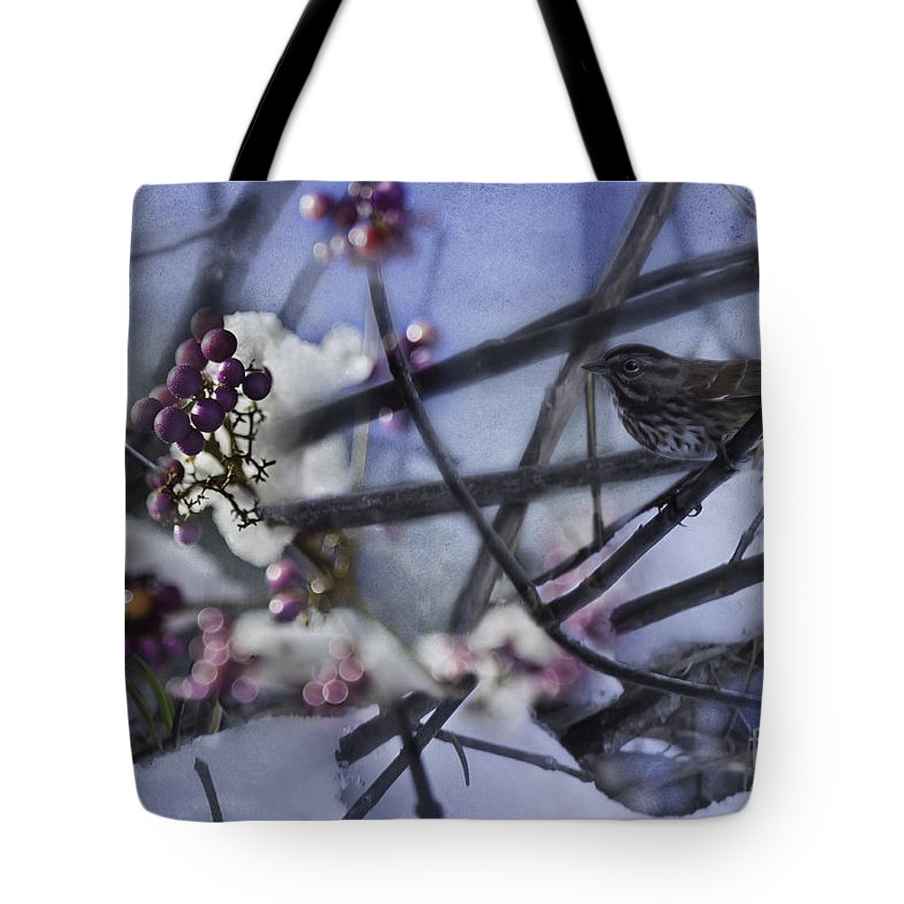Sparrow Tote Bag featuring the photograph Sparrow And The Beauty Berry by Belinda Greb