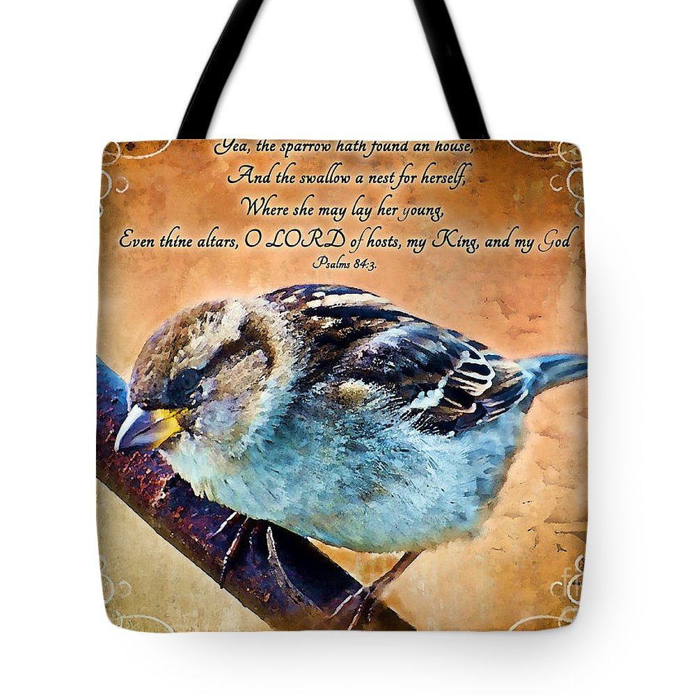 Nature Tote Bag featuring the digital art Sparrow With Verse And Painted Effect by Debbie Portwood