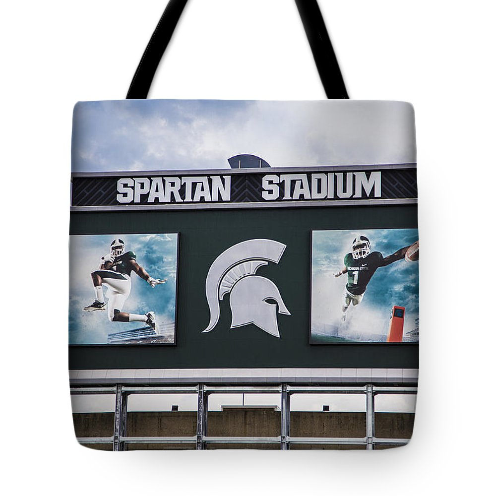 Michigan State Tote Bag featuring the photograph Spartan Stadium Scoreboard by John McGraw