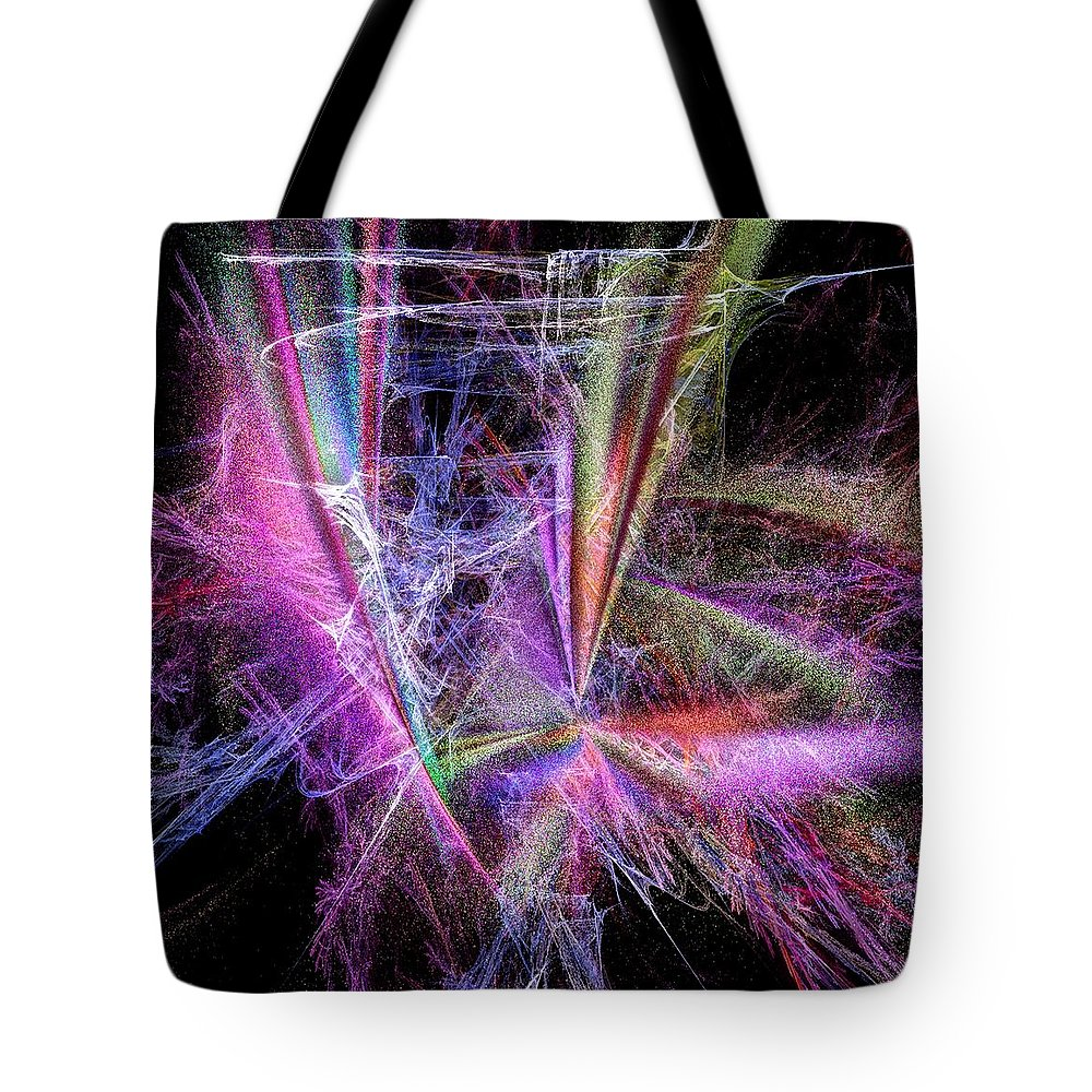 Abstract Tote Bag featuring the digital art Spazzing by Andrea Lawrence