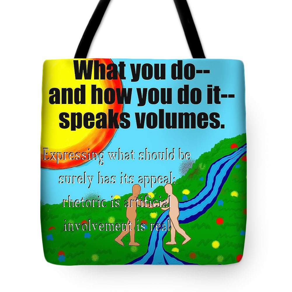 Action Tote Bag featuring the painting Speaks Volumes by Pharris Art