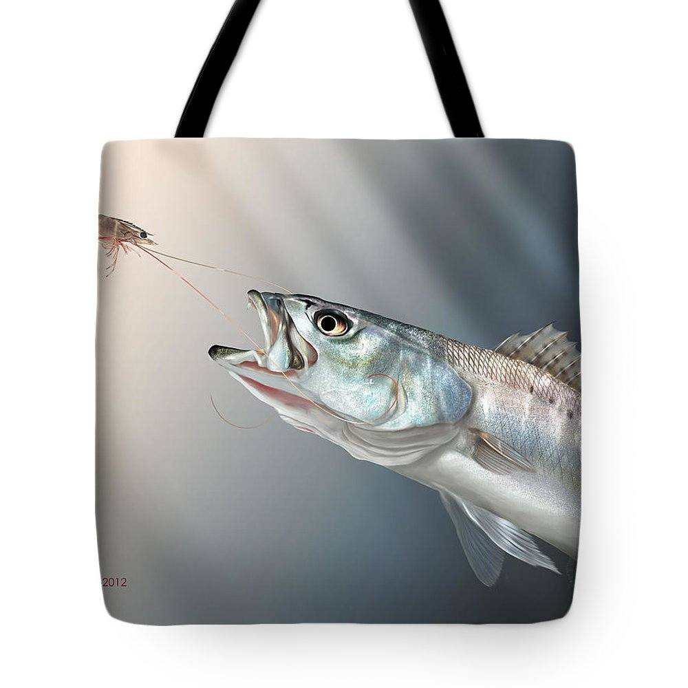 Shrimp Tote Bag featuring the painting Speck Snack by Hayden Hammond