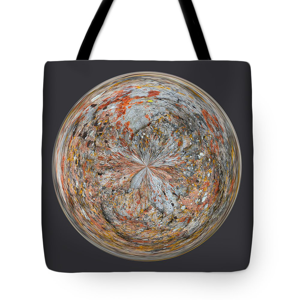 Lichen Tote Bag featuring the photograph Specks Orb by Brent Dolliver