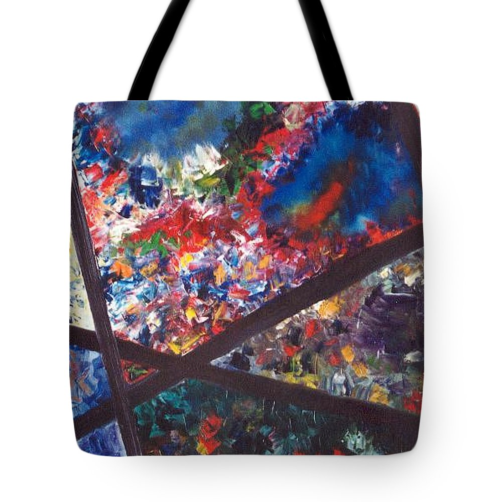 Abstract Tote Bag featuring the painting Spectral Chaos by Micah Guenther