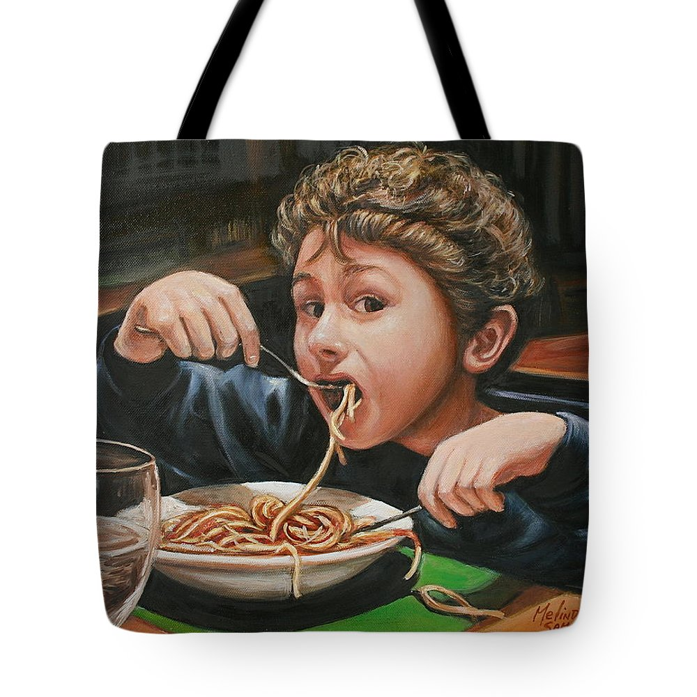 Children Tote Bag featuring the painting Spaghetti Boy by Melinda Saminski
