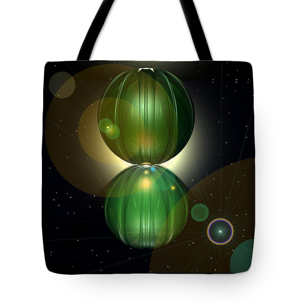 Abstract: Color; Floral & Still Life: Abstract; Science Fiction & Fantasy: Magical; Spiritual & Religious: Motivational Tote Bag featuring the digital art Spheramid 10 by Ann Stretton