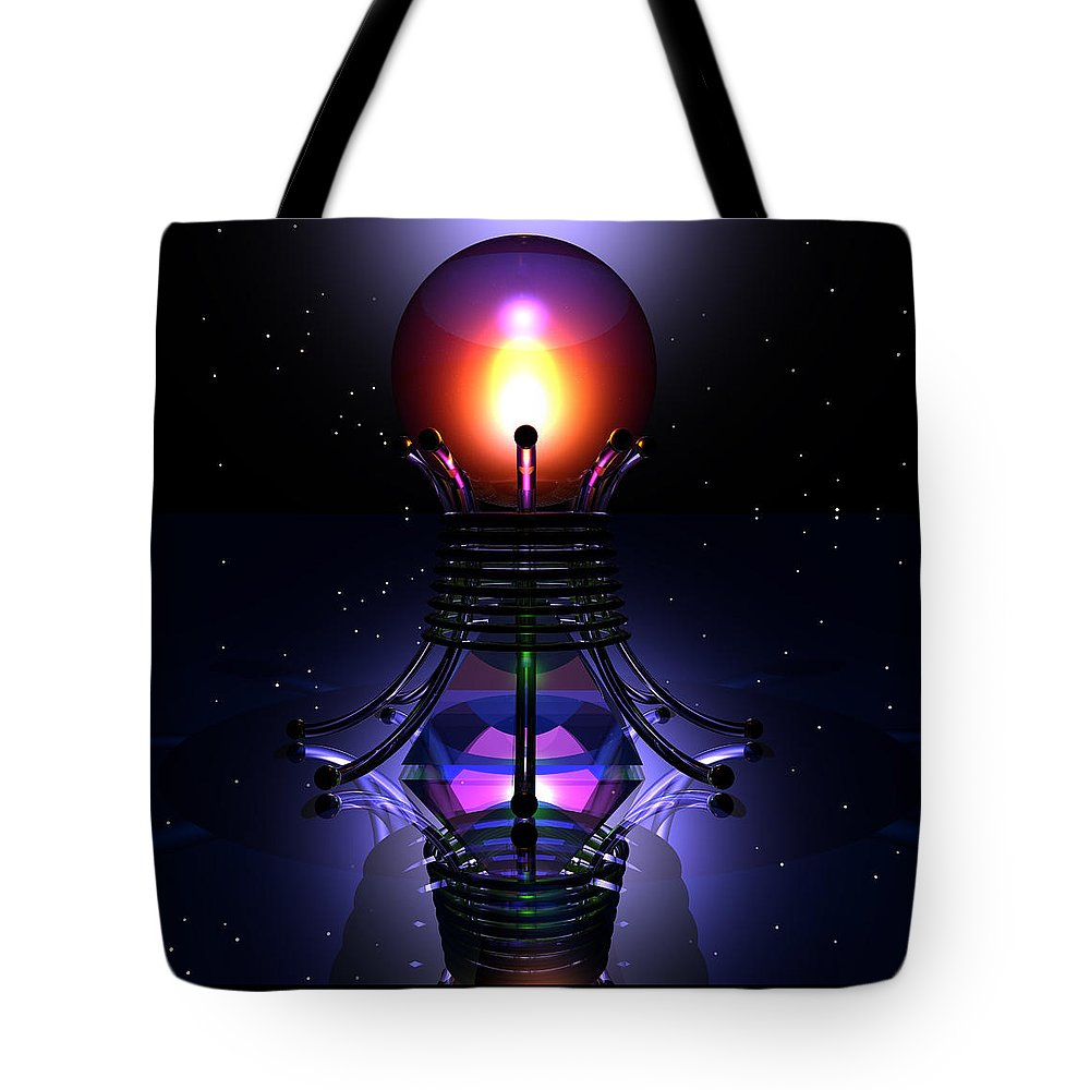 Abstract: Color; Floral & Still Life: Abstract; Science Fiction & Fantasy: Fantasy; Spiritual & Religious: Spirituality Tote Bag featuring the digital art Spheramid 12 by Ann Stretton