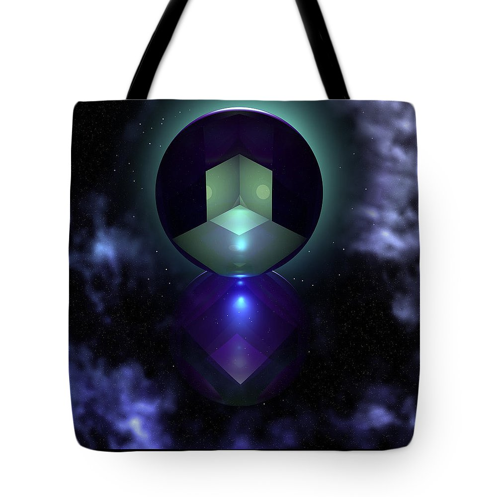 Abstract: Geometric; Floral & Still Life: Objects; Science Fiction & Fantasy: Dreamscapes; Spiritual & Religious: Spirituality Tote Bag featuring the digital art Spheramid 9 by Ann Stretton