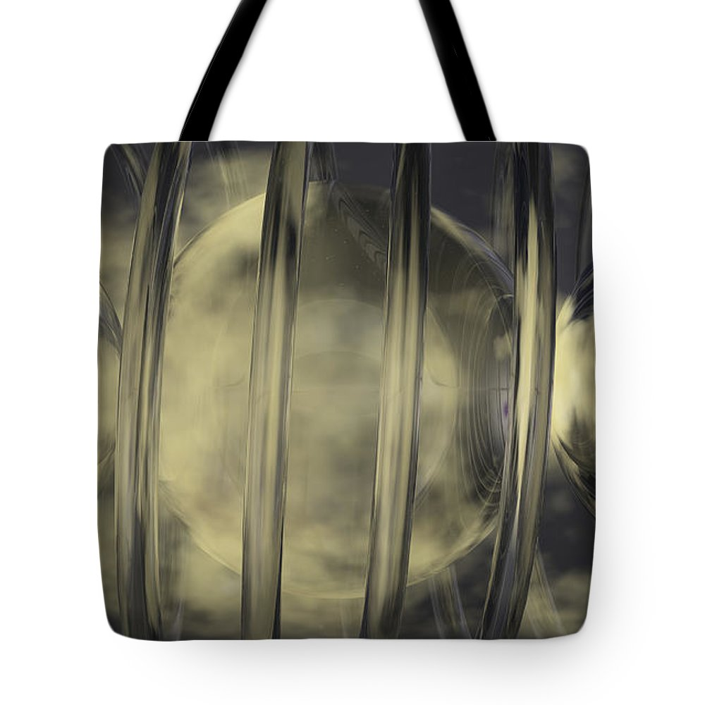 Abstract Tote Bag featuring the digital art Spheres No 7 by James Kramer