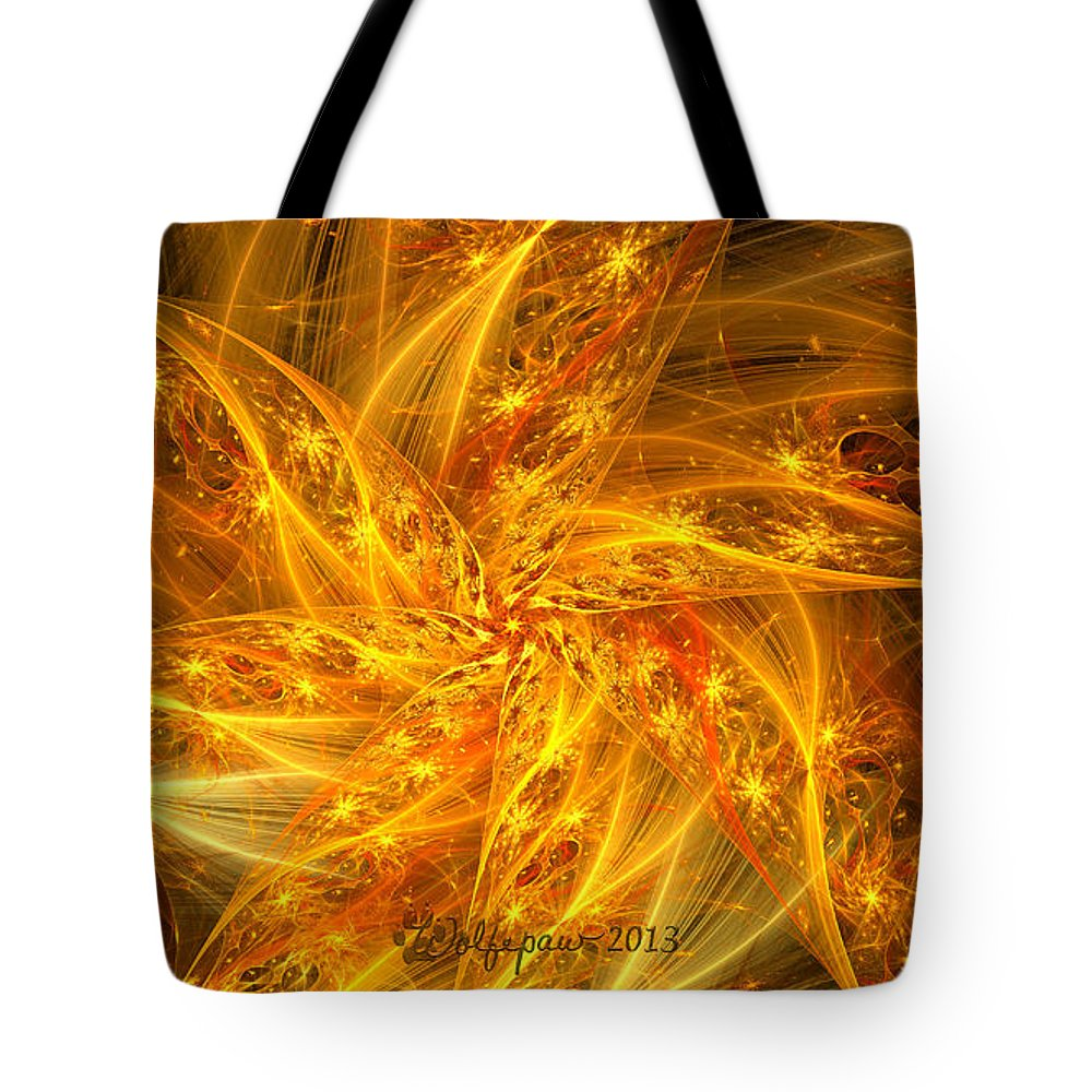 Abstract. Digital Tote Bag featuring the digital art Spherical Golden Stars by Peggi Wolfe