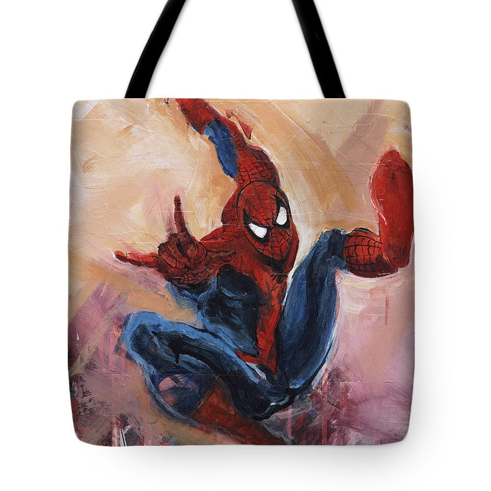 Marvel Comics Tote Bag featuring the painting Spider-man by David Leblanc
