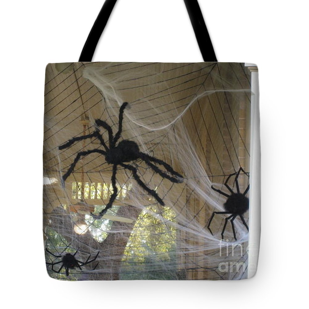 Spiders Tote Bag featuring the photograph Spiders by Michael Anthony