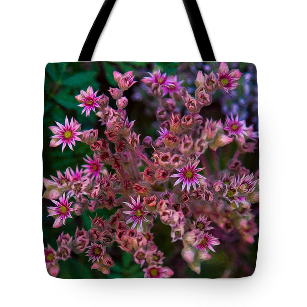 North Cascades Tote Bag featuring the painting Spiky Flowers by Omaste Witkowski