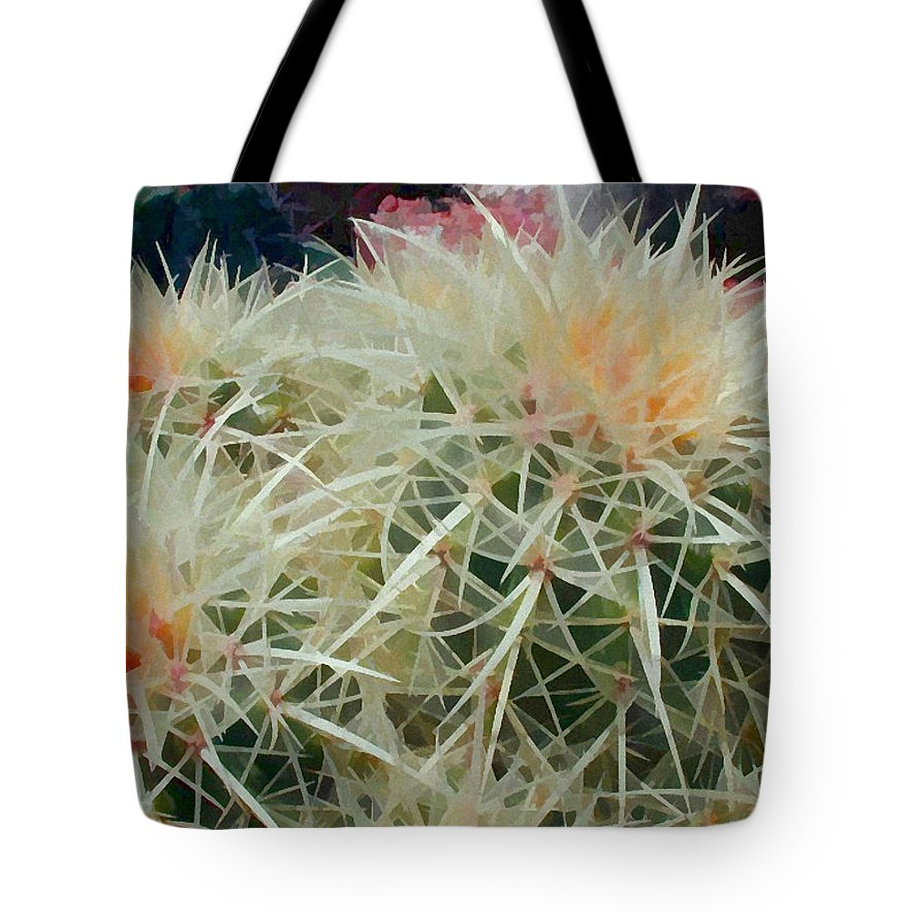 Cactus Tote Bag featuring the painting Spiny Barrel Cactus by Elaine Plesser