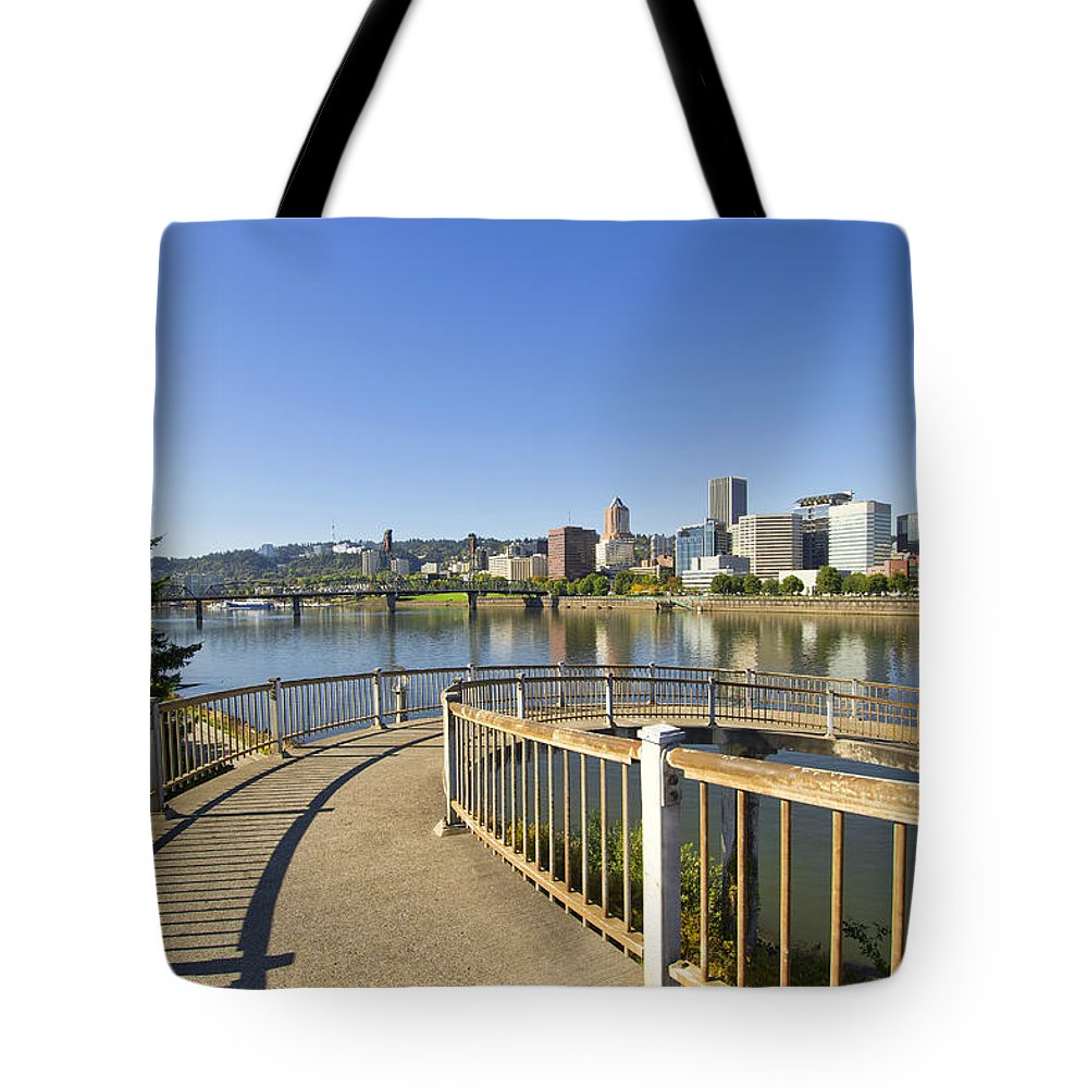 Spiral Tote Bag featuring the photograph Spiral Bridge Walkway To The Esplanade by David Gn