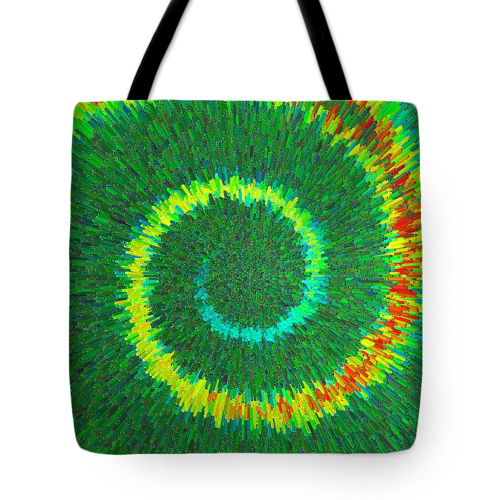 Spiral Tote Bag featuring the painting Spiral Rainbow C2014 by Paul Ashby