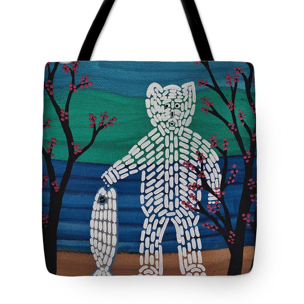 Spirit Bear Bella Coola Tote Bag featuring the painting Spirit Bear Bella Coola by Barbara St Jean