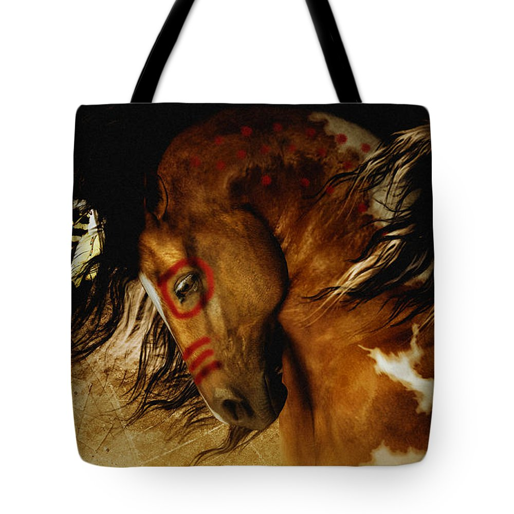 Spirit Horse Tote Bag featuring the digital art Spirit Horse by Shanina Conway