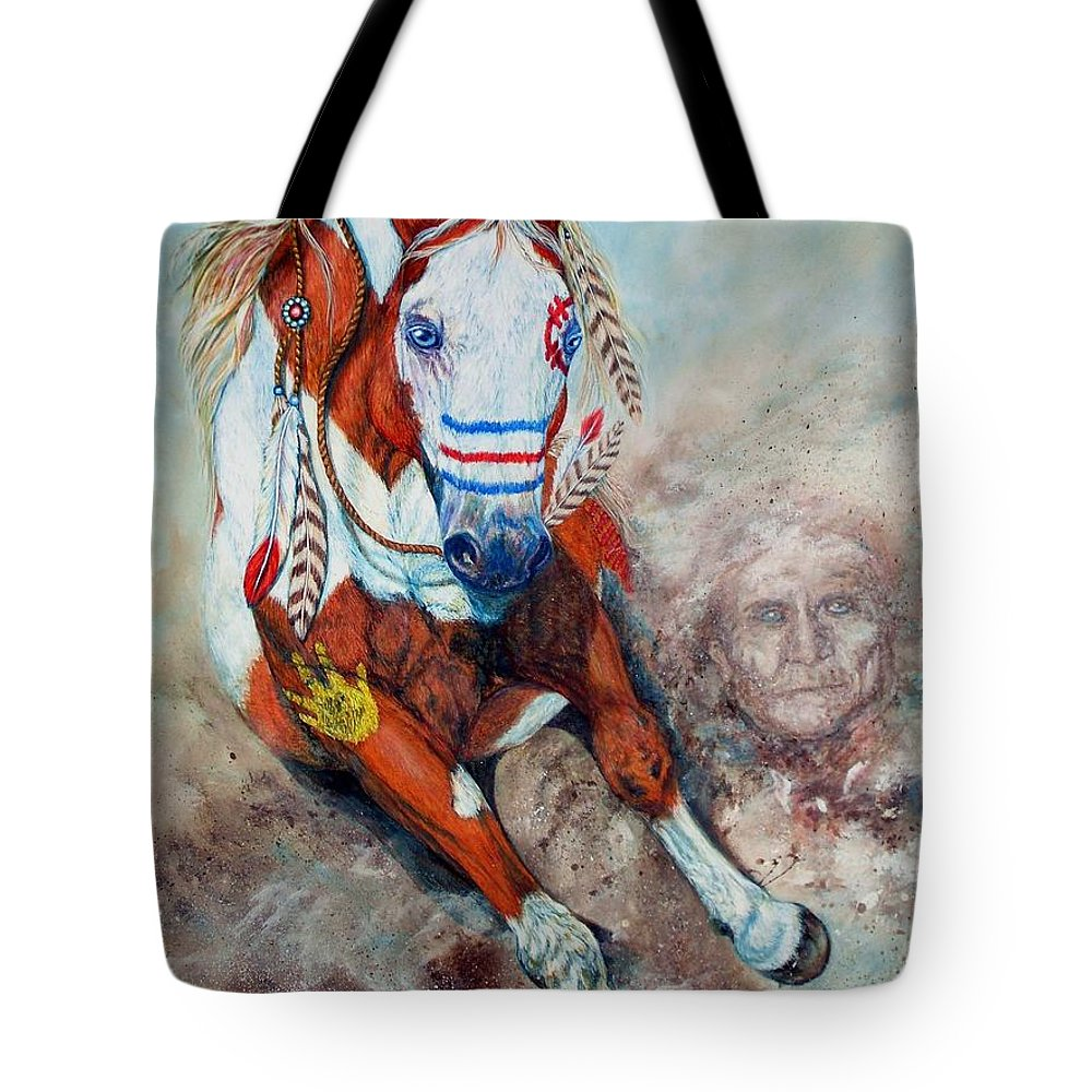Acrylic Tote Bag featuring the painting Spirit Of A War Pony by Amanda Hukill