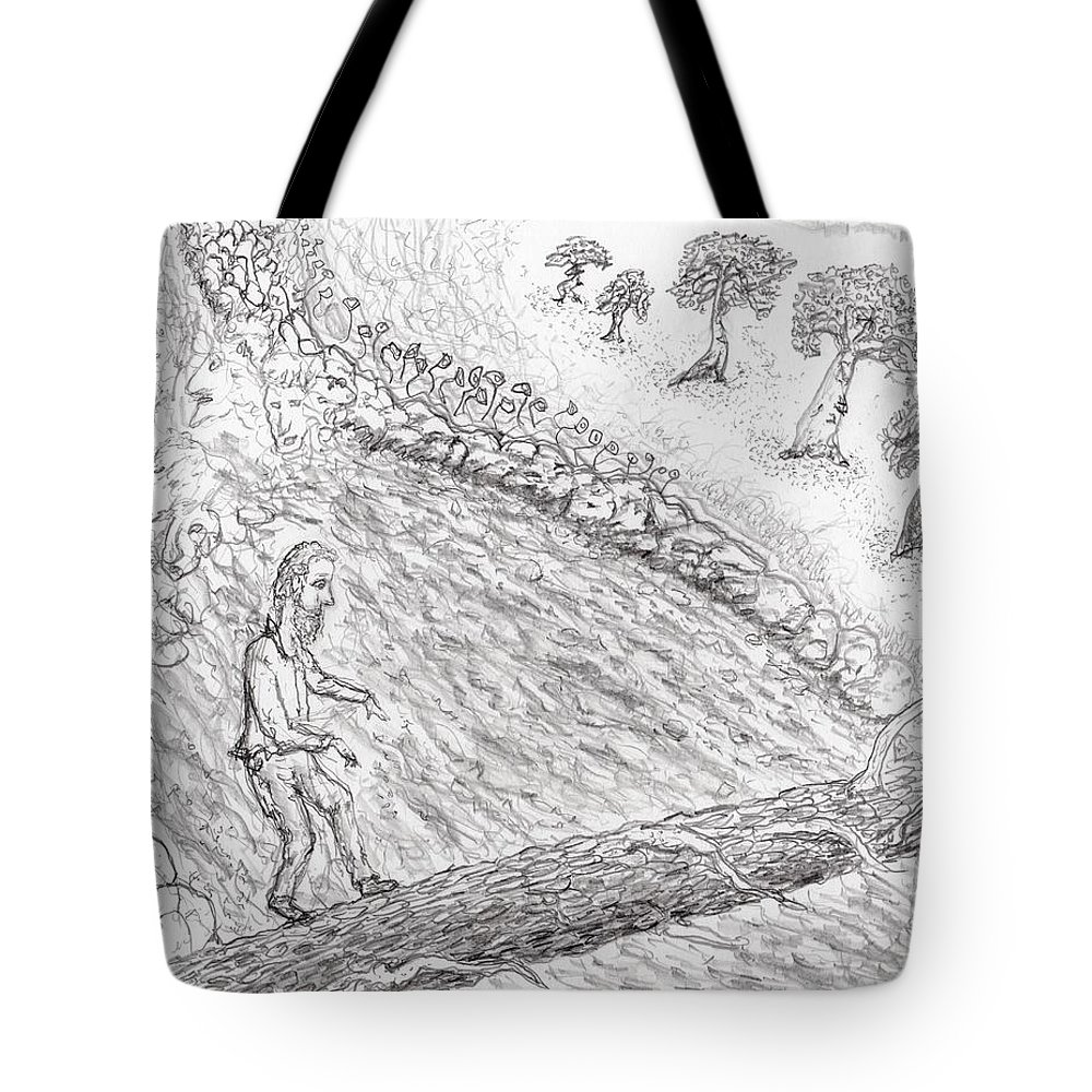 Jim Taylor Tote Bag featuring the drawing Spirits In The Balance by Jim Taylor