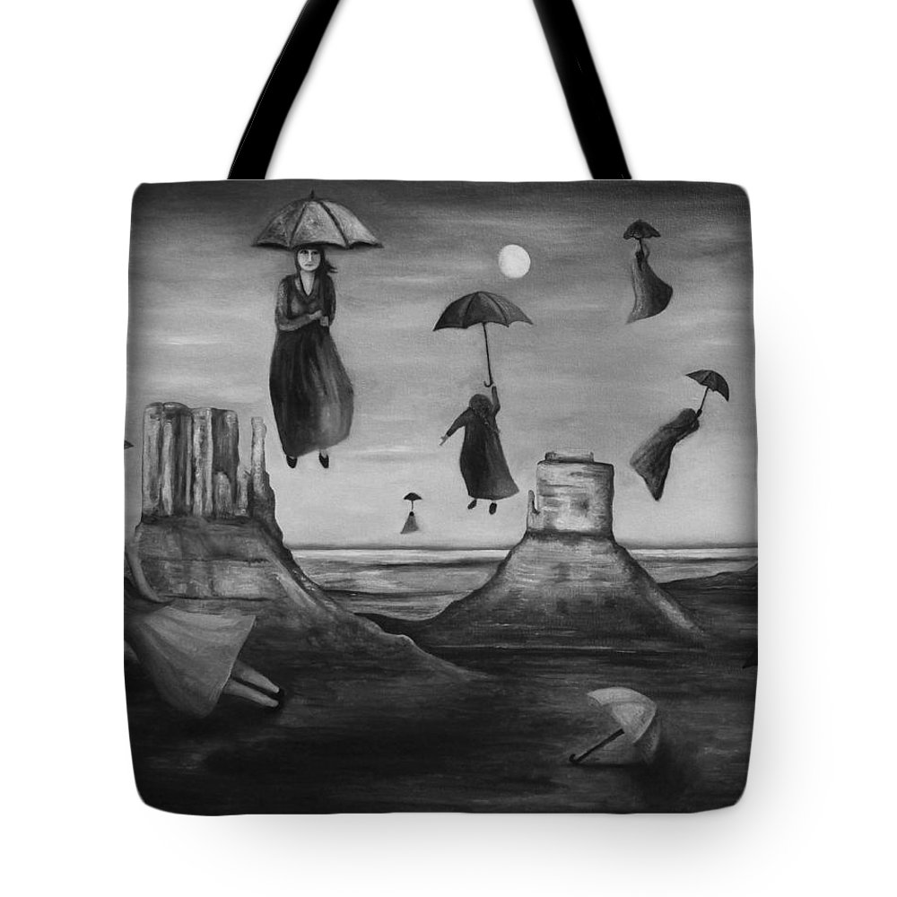 Umbrellas Tote Bag featuring the painting Spirits Of The Flying Umbrellas Bw by Leah Saulnier The Painting Maniac
