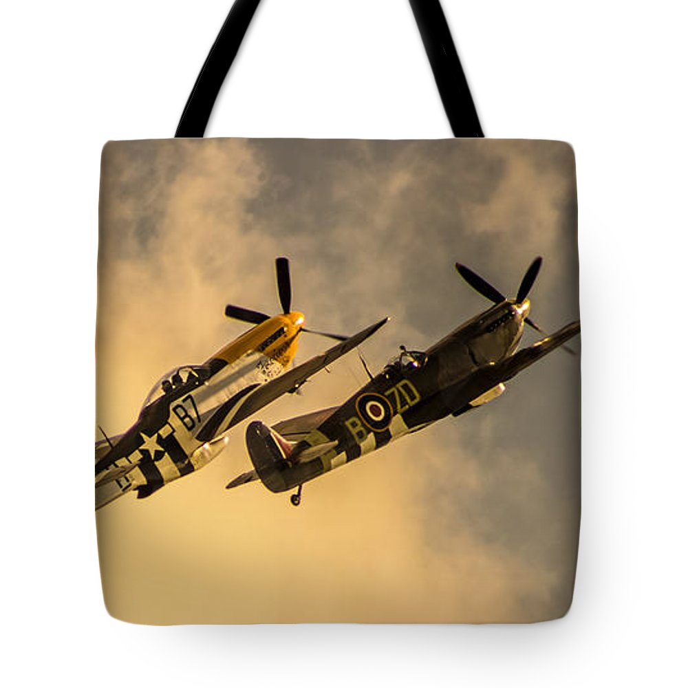 Duxford Tote Bag featuring the photograph Spitfire by Martin Newman