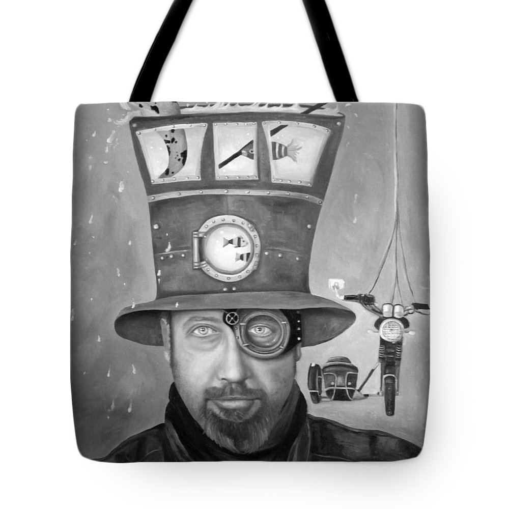 Splash Tote Bag featuring the painting Splash Bw 2 by Leah Saulnier The Painting Maniac