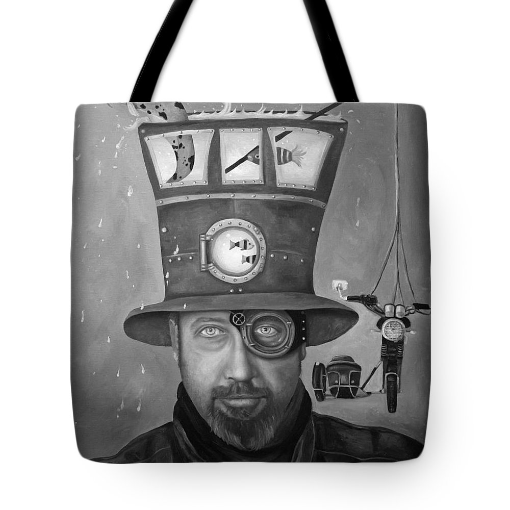 Splash Tote Bag featuring the painting Splash Bw by Leah Saulnier The Painting Maniac